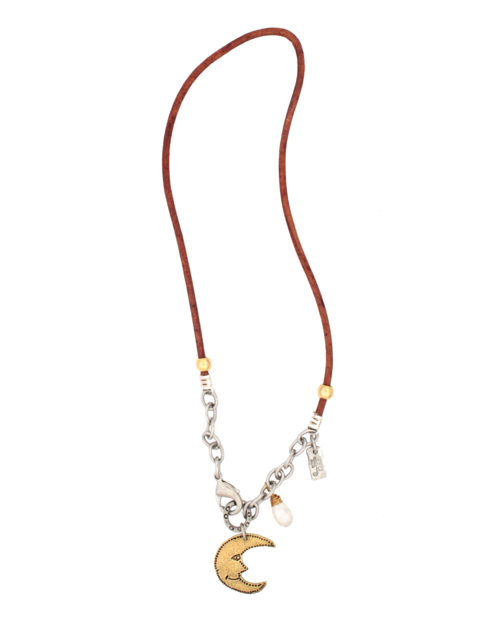 Brass-moon-brown-leather-chain-necklace