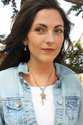 flower necklace on female with denim jacket