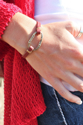 leather bracelet on female wrist