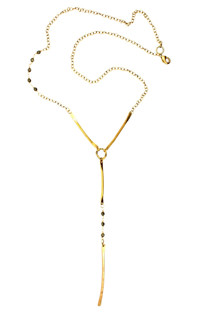 long-Hammered-brass-stick-necklace-with-pyrite-stones-white-background