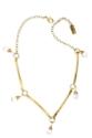 brass stick stone necklace on white