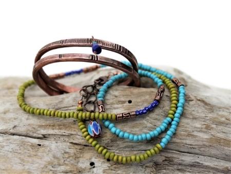 Custom Copper & Beaded Bracelets