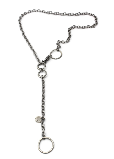 long chunky silver chain necklace on white