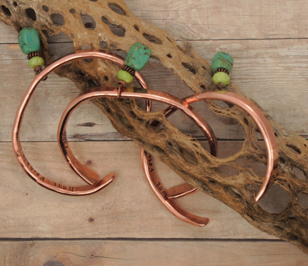 set of 3 copper cuff blue green gemstone bracelets on cactus skeleton