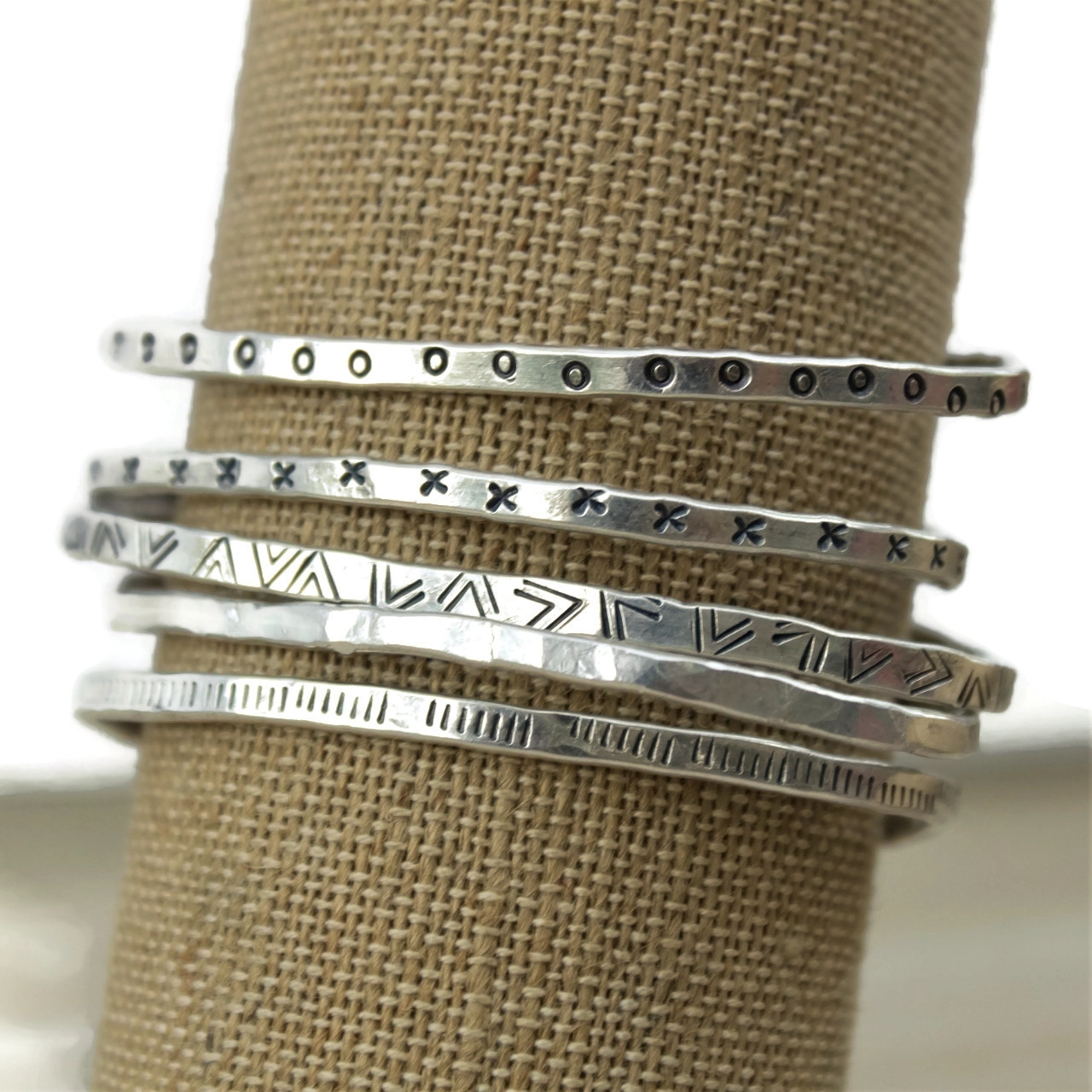 Patterned & Textured Sterling Cuff Stack