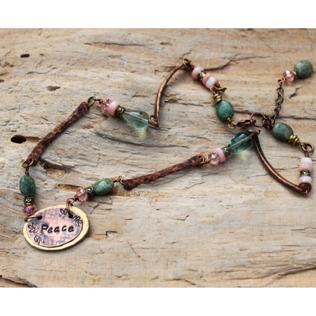 Peace Necklace- Hammered Metal & Gemstones