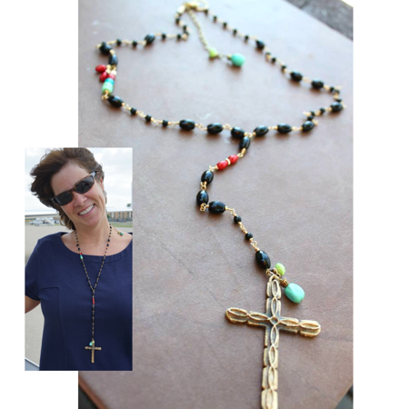 Multi Gemstone Cross Necklace