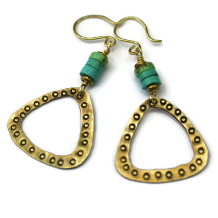 Turquoise-Brass Triangle Earrings