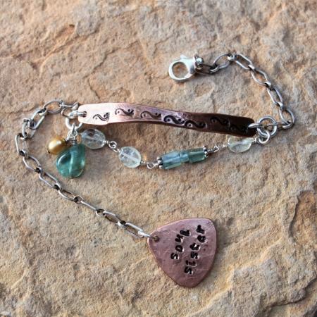 Soul Sister -Sterling Copper Gemstone Bracelet