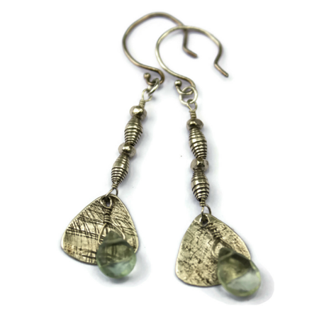 Sterling Textured Gemstone Earrings