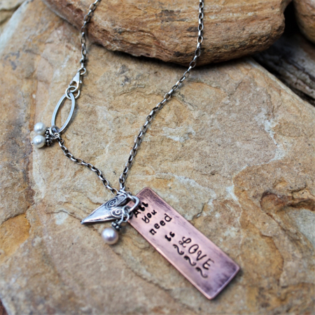 All You Need is Love Necklace - Sterling, Copper, Pearls