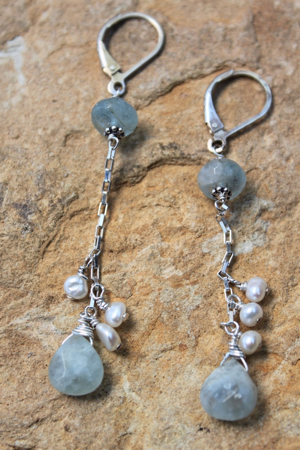Aquamarine Pearl Sterling Earrings