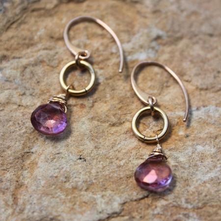 Pink quartz drop Earrings