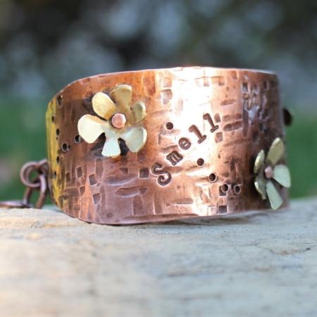 Copper Brass Flower Cuff