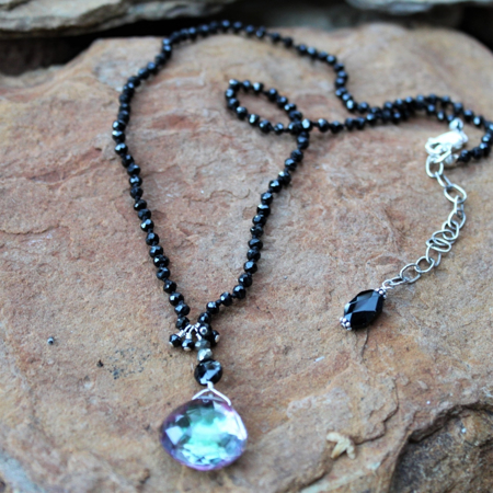 Rainbow Quartz & Black Spinel Necklace