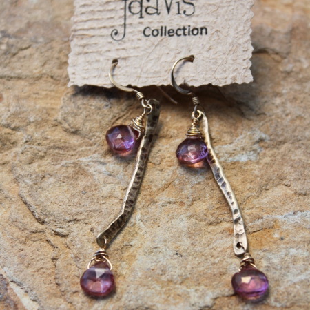 Pink Quartz Stick Earrings