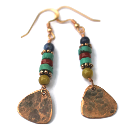 Hammered Copper Triangles &  Earthy Gemstone Stone Earrings