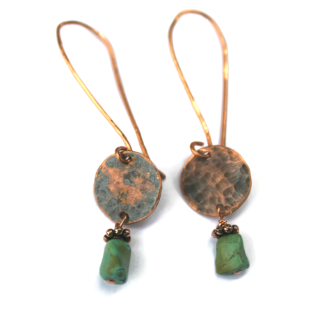 Copper Circle & Turquoise Earrings