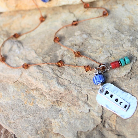 Sterling Peace Necklace- Gemstones & Swarovski Crystals