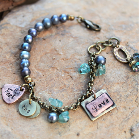 Feel The Love Necklace- Copper, Brass & Gemstones