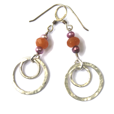 Sterling-Double Hoops with Gemstones