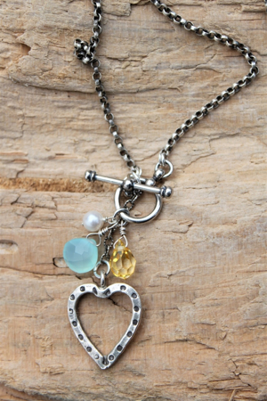 Sterling Heart Gemstone Necklace