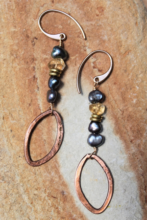 Copper Oval Gemstone Earrings