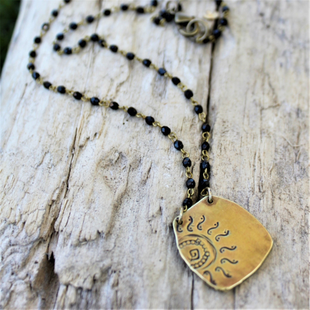 Brass Sun Necklace- Black Crystal Chain