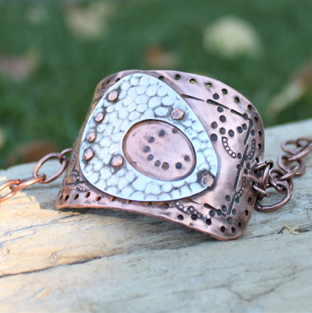 Textured Copper Sterling Cuff Bracelet