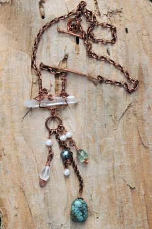 Raw Quartz Copper Necklace