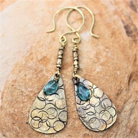 Textured Brass Adventurine Earrings