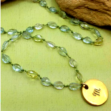Aquamarine Initial Necklace