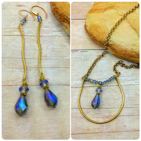 Brass & Crystal Necklace set