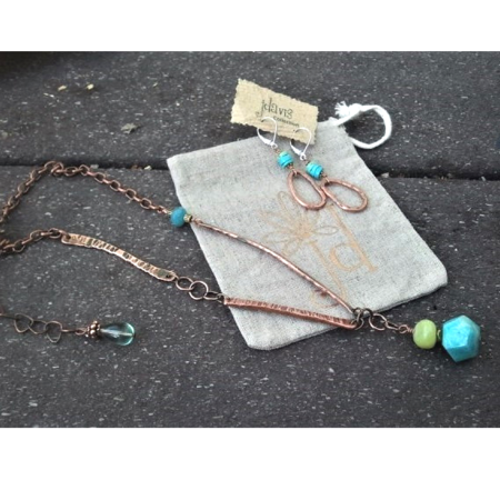 Hammered Copper, Turquoise & Jade Necklace
