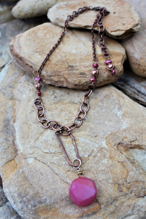 Rustic Copper Necklace - Mixed chain, Pink Agate