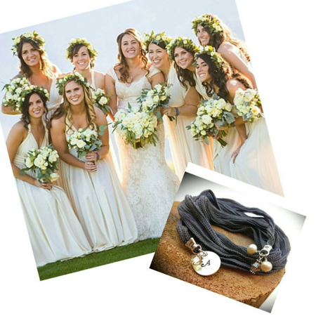Bridesmaids with silk wrap jewelry
