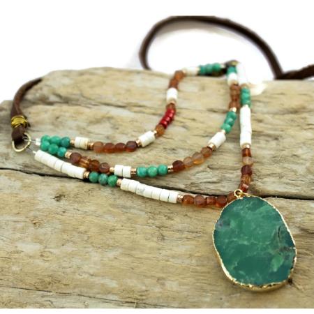 long layered boho gemstone necklace on wood