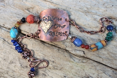 Celebrate Your Spirit- Copper, Brass Heart & Gemstones