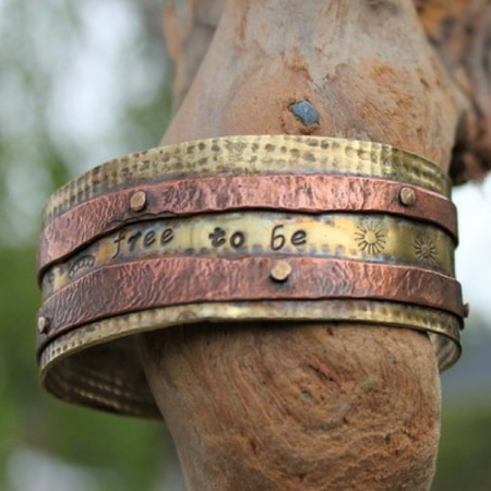 Be Free Cuff- Textured Brass & Riveted Copper