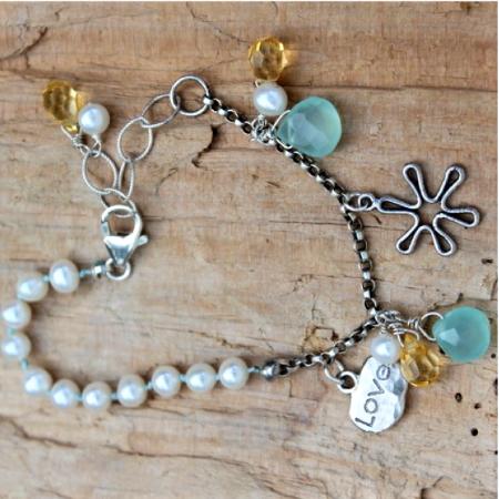 Love Flower Charm Bracelet