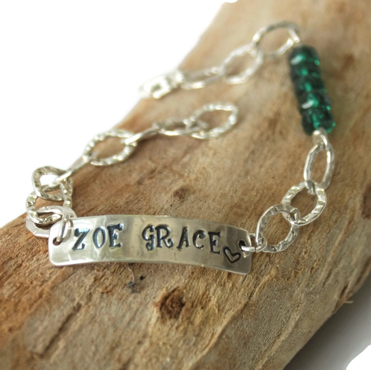 Sterling ID & Birthstone Bracelet