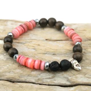 Pink Shell Brown Wood & Black Lava Bead Essential Oil Bracelet