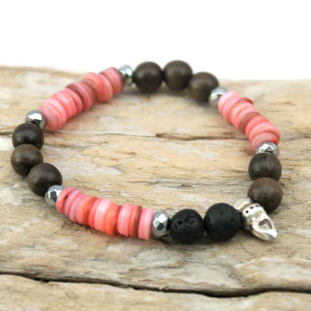 Pink Shell Brown Wood & Black Lava Bead Essential Oil Bracelet