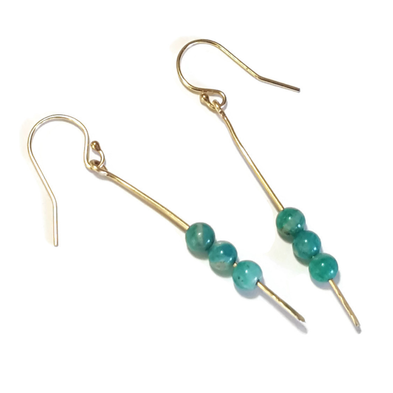 Amazonite Gold  Stick Earrings