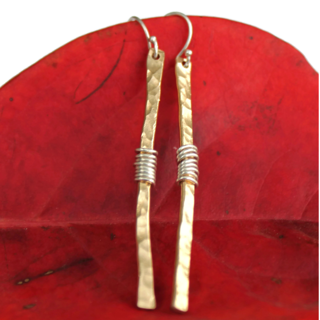 Long Hammered Gold Stick Earrings