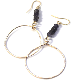 Gold Iolite Hoop Earrings