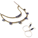 Leather Iolite Necklace & Earring set