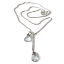 aquamarine sterling necklace white background