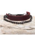 mens-brown-leather-black-gun-metal-chain-wrap-bracelet-on-wood-background