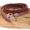 Men's-reddish-brown-multi-wrap-leather-bracelet-silver-slide-buckle-on-wood-background
